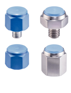 Pins with plastic contact surface